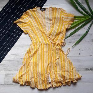 Lulu's| Sun Times Yellow Stripe Wrap Dress M